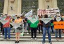 Gremios realizaron pañuelazo contra Ley ART frente a gobernación