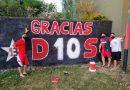Hinchas de Newell's en Roldán pintaron un mural en homenaje a Maradona