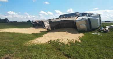 Un camión quiso esquivar una grúa y terminó volcando su carga en la banquina